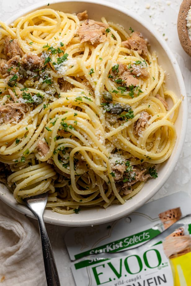 overhead shot of garlic lemon tuna pasta with parmesan