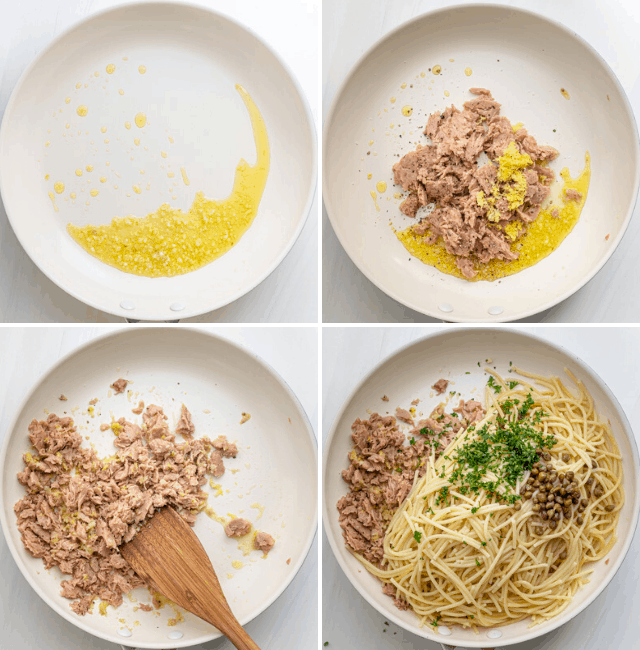 process shots of how to assemble garlic lemon tuna pasta in a bowl