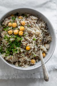 Mediterranean ground beef and rice with chickpeas in a bowl