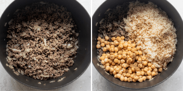 Process shots to show cooking the hashweh, then adding the rice and chickpeas