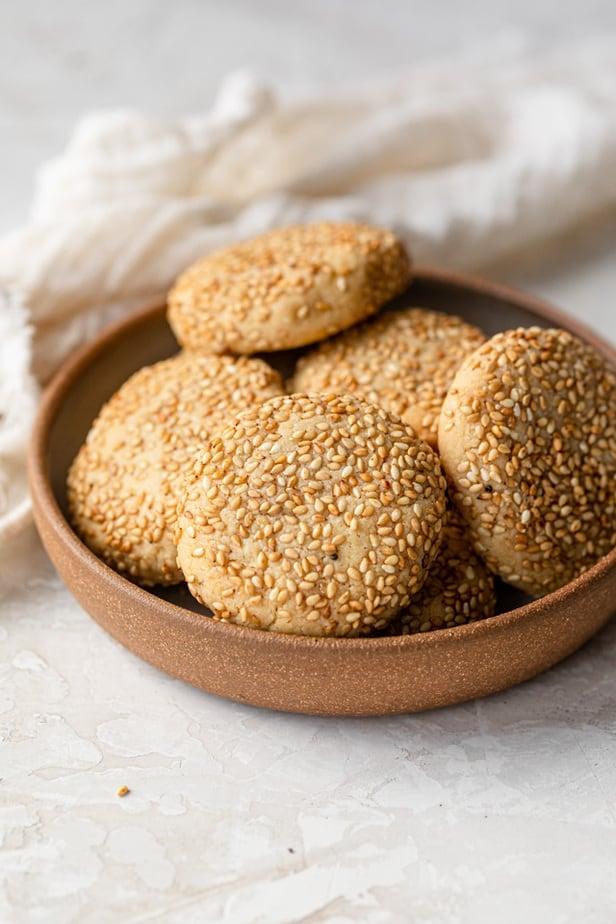Small bowl of honey tahini cookies