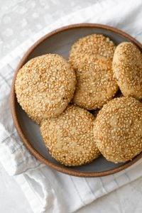 Honey Tahini Cookies covered with sesame seeds