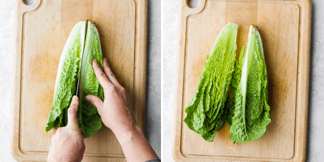 collage of cutting lettuce in half