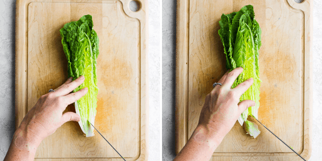 collage of knife removing the base of the lettuce