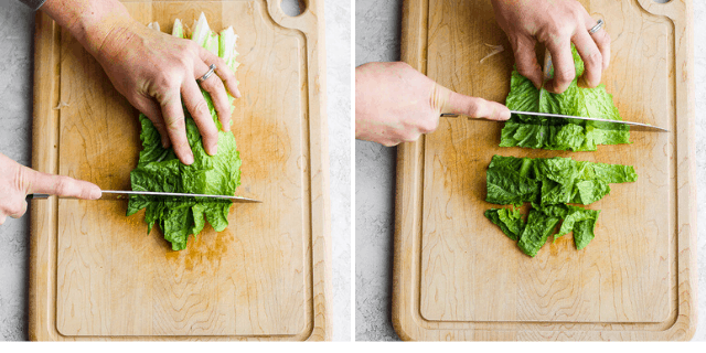 collage of knife chopping up romaine lettuce