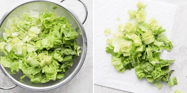 collage of drying lettuce
