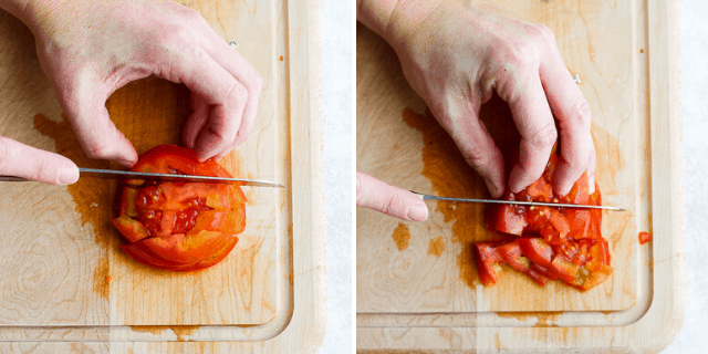Dicing a tomato from a top angle