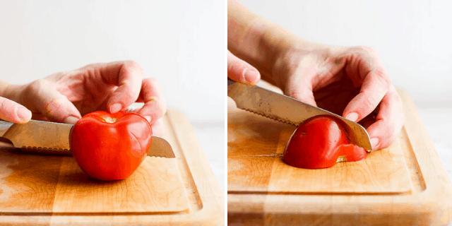 Cutting a tomato in half