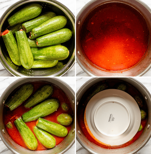 process shots of kousa cooking in a pot