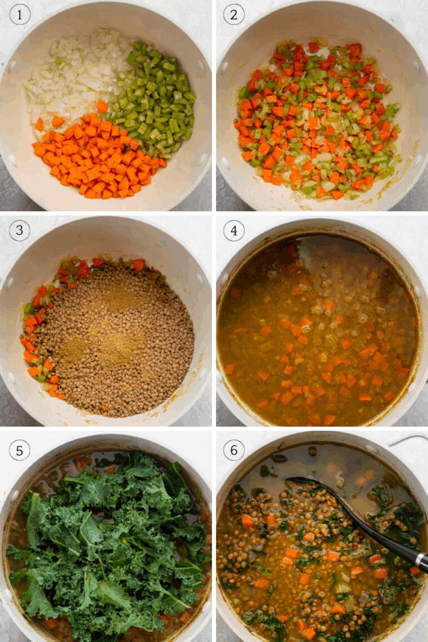 process shots of lentil kale soup being made in a pot