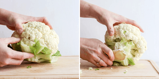 collage of removing base from cauliflower