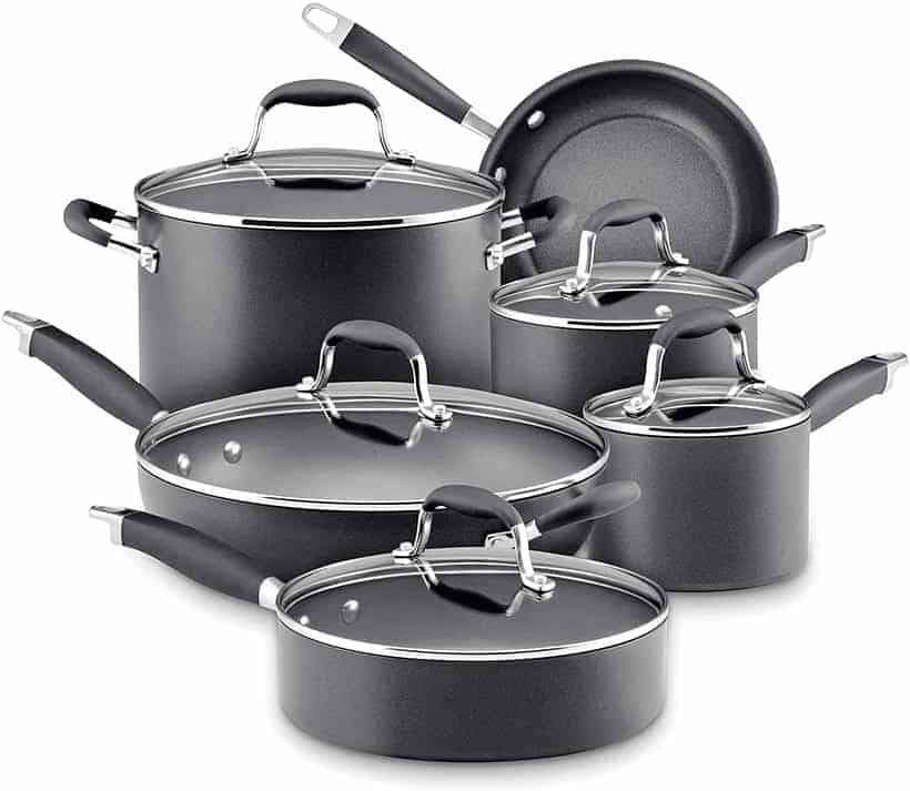 Anolon 82676 Advanced Hard Anodized Nonstick Cookware Pots and Pans Set, 11 Piece,