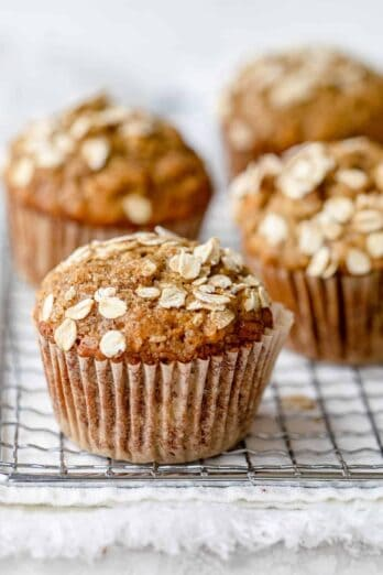 Healthy banana nut muffins on. a wire wrack