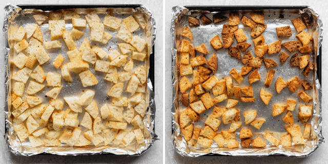 Croutons on a baking sheet before and after baking