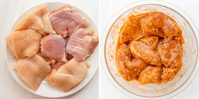 Chicken breast and thighs marinating in spices