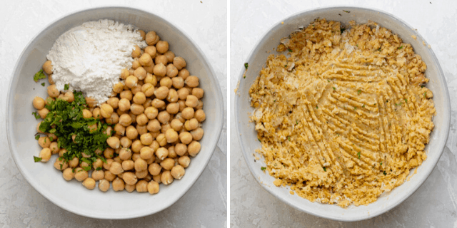 The ingredients in a white bowl before and after being mixed