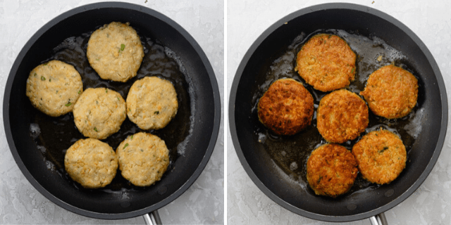 Chickpea fritters in a pan before and after cooking