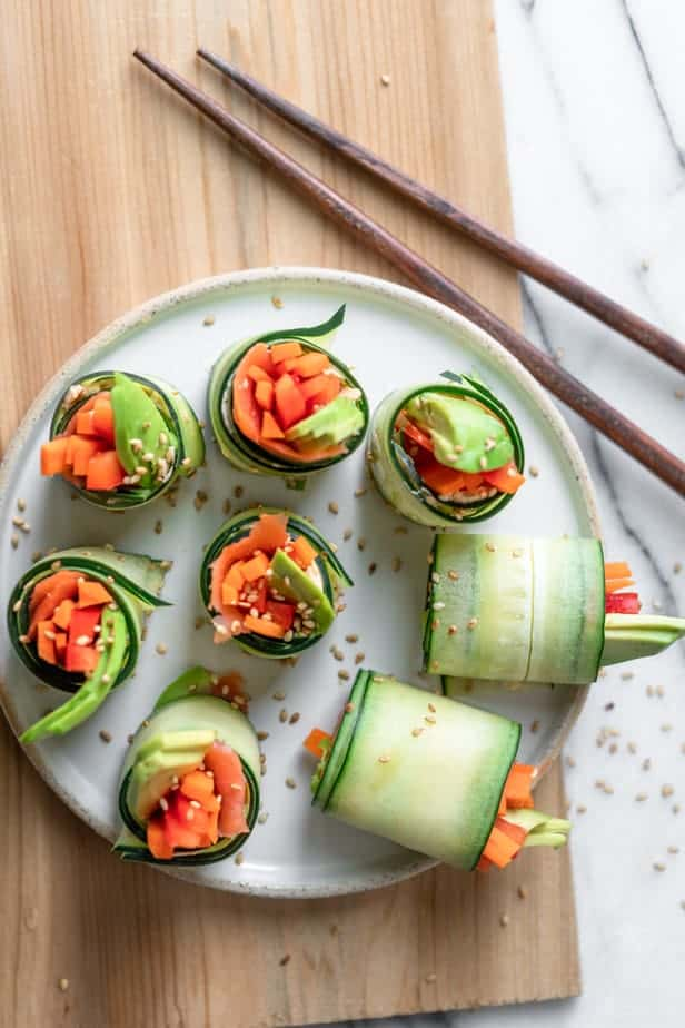 Cucumber Sushi Rolls served on a plate