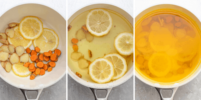 Three shots to show how to make the drink in a pan