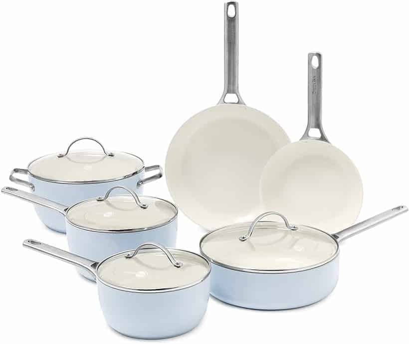 GreenPan Padova Ceramic Non-Stick 10Pc Cookware Set, Light Blue