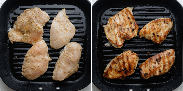 The chicken breast being grilled on each side