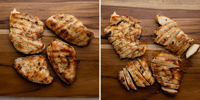 The chicken breast sliced on a chopping board