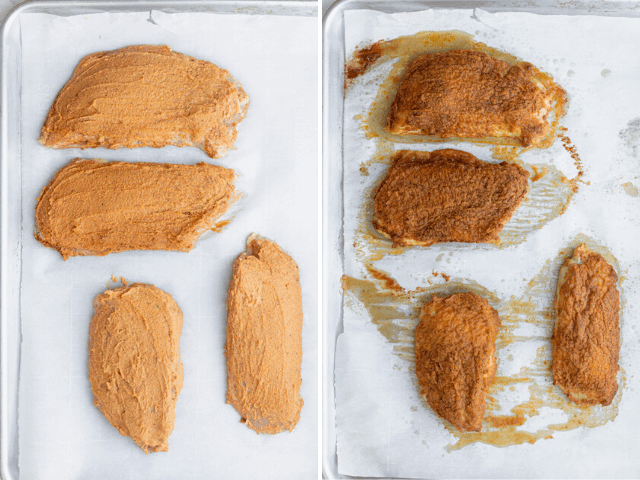 The hummus crusted chicken before and after baking