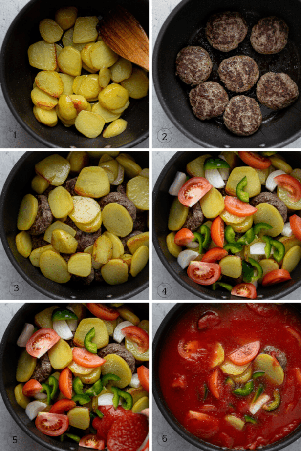 Step by step photos to show how to make the kafta and potato stew