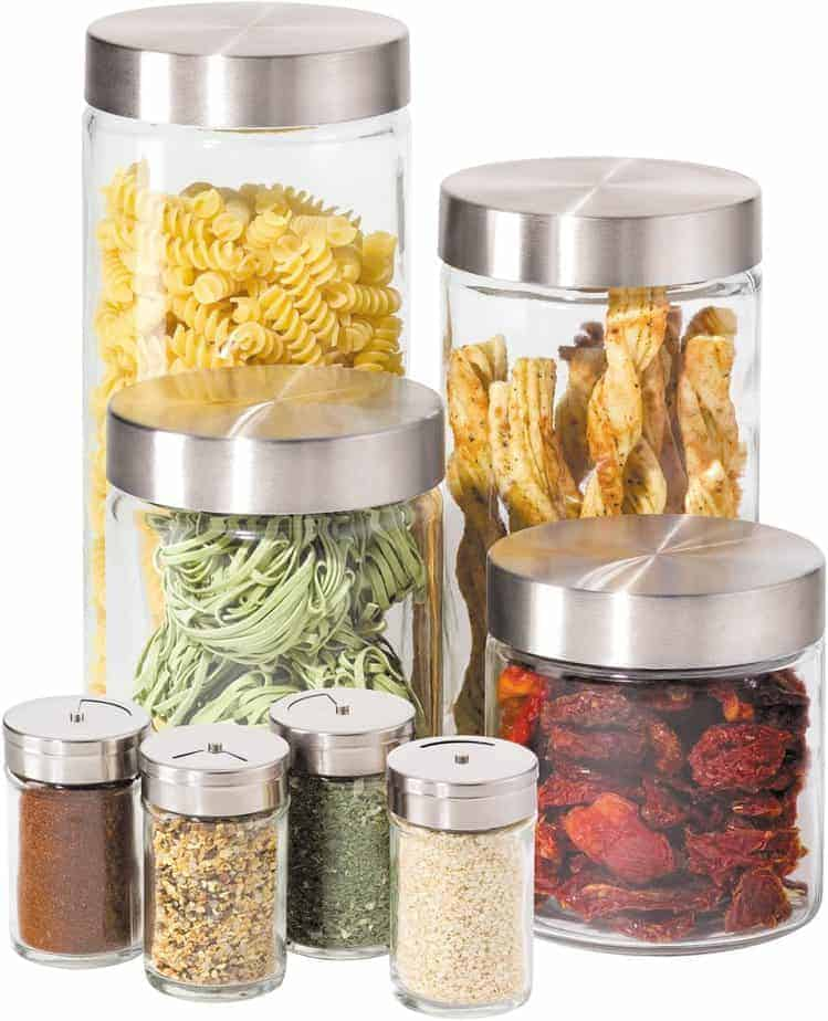 Oggi 8 Piece Round Airtight Glass Canister and Spice Jar Set