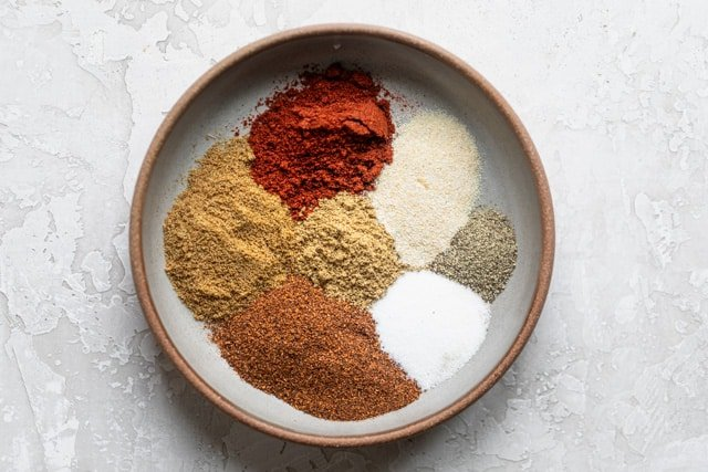Spices for the fajita seasoning in a bowl