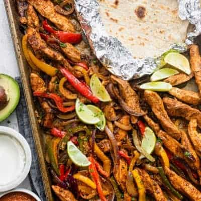 top down shot of sheet pan chicken fajitas