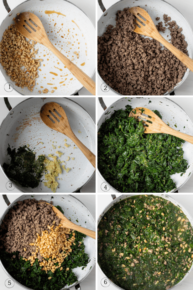 Process shots for how to make the recipe in one skillet