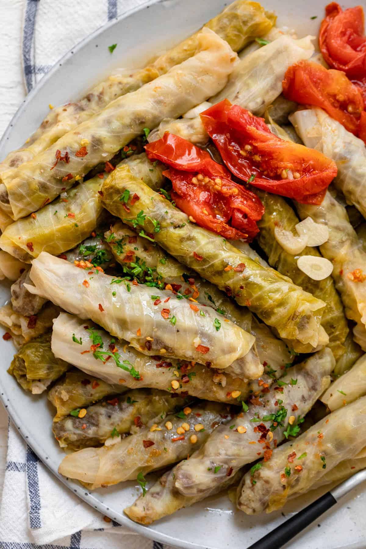 Large plate of stuffed cabbage - lebanese malfouf
