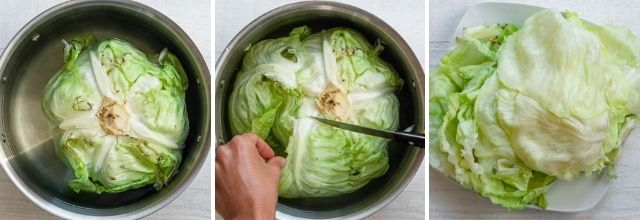 Raw cabbage with fork inside