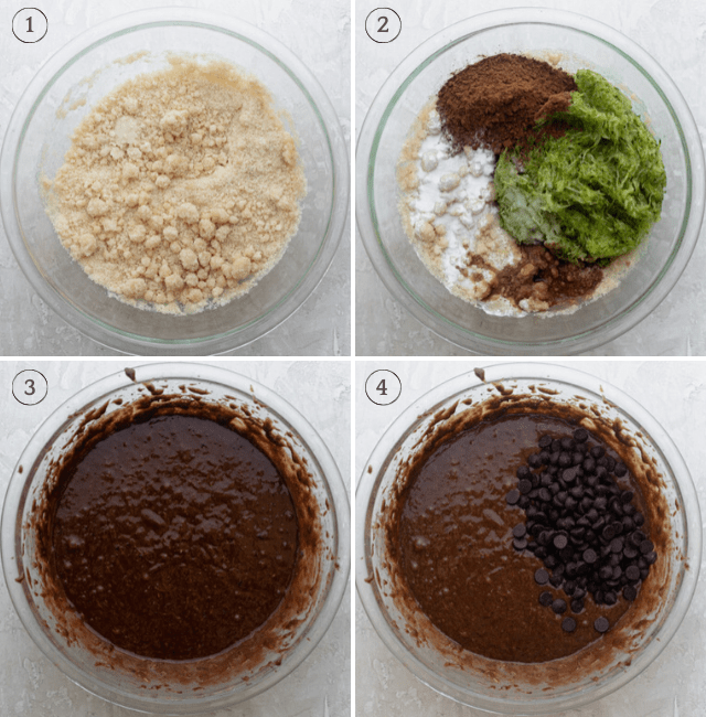 Four shots to show how to make the brownie mixture