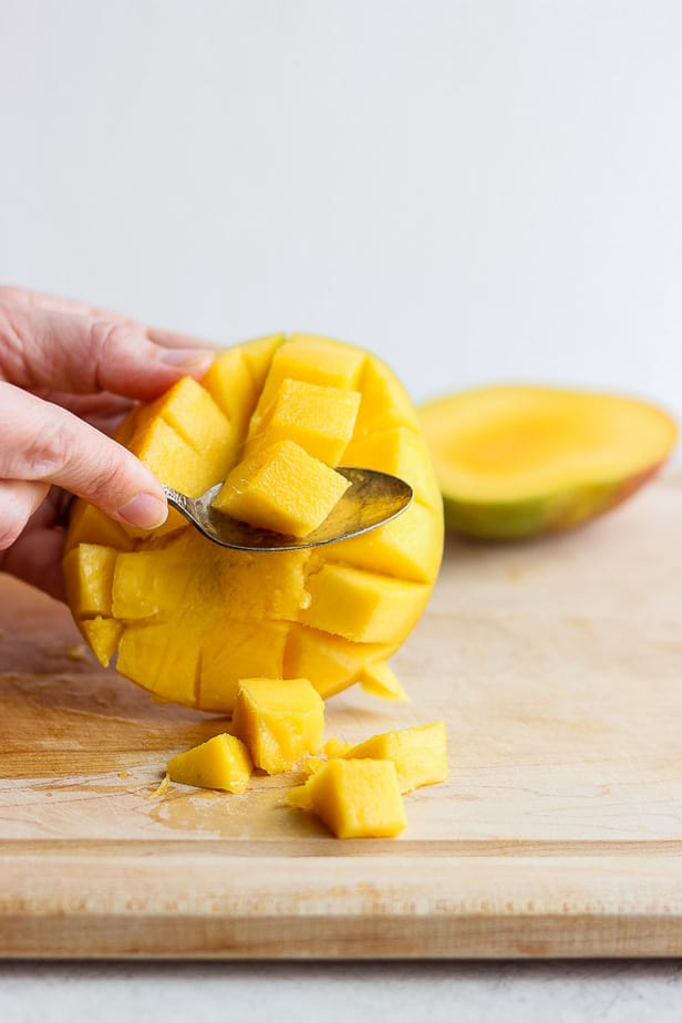 spoon taking out a fruit cube