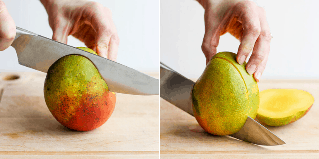 process shots of knife cutting through mango