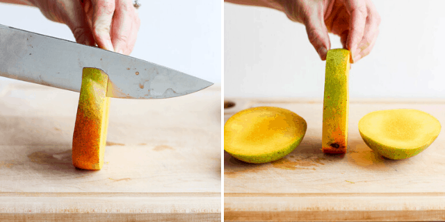 process shot of a knife cutting a mango slice