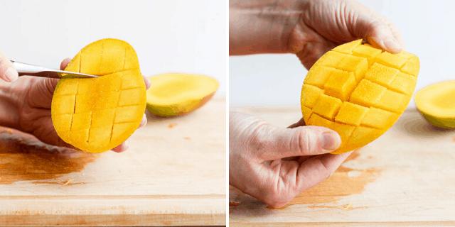 scoring a mango half