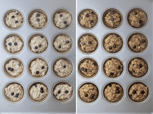 The oatmeal cups in a muffin tray before and after baking