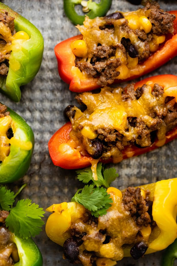 Close up of the baked bell pepper nachos