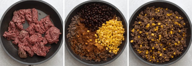 Three shots to show how to make the ground beef filling