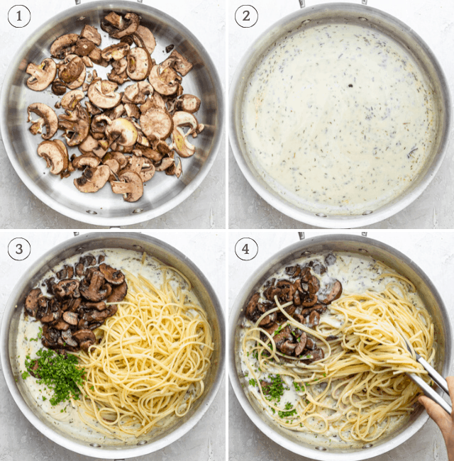 process shots of making creamy mushroom pastsa