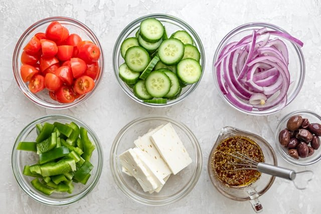 Ingredients to make the Greek salad