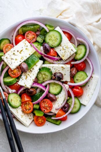 Large bowl of authentic Greek Salad before serving
