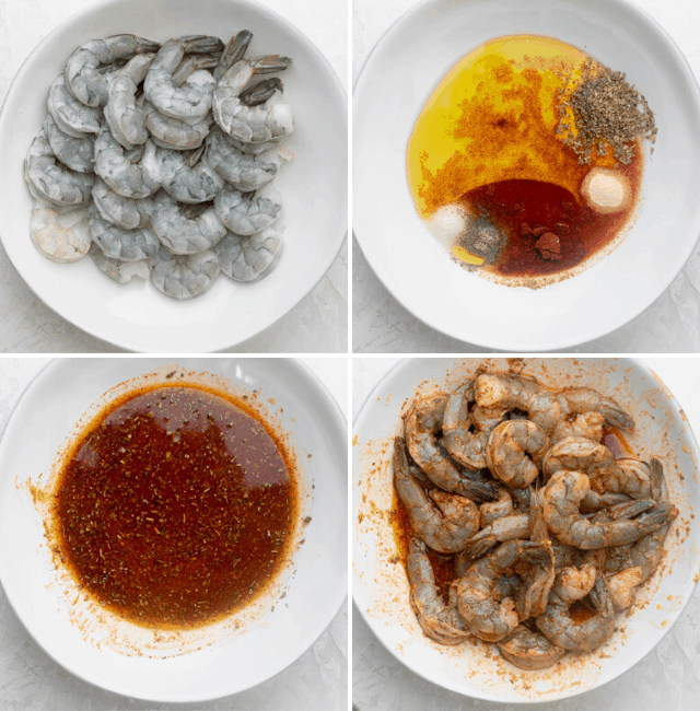 Four shots to show how to marinate the shrimp