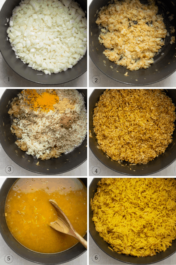 Step by step process shots for how to make the rice in a large pot