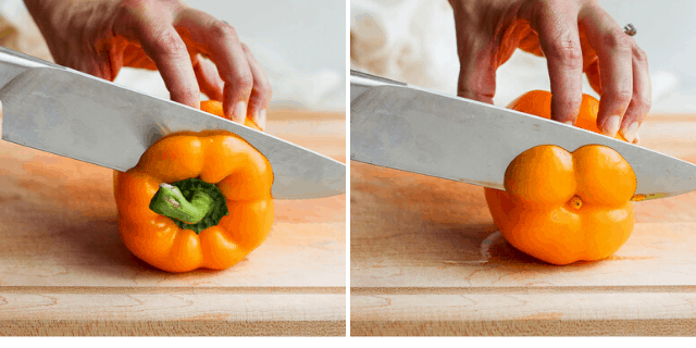 side by side pictures showing knife cutting the top and the bottom off yellow peppers