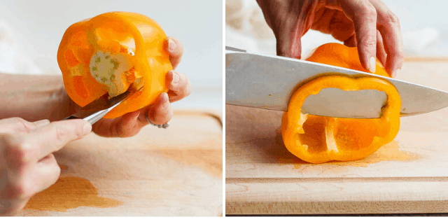 side by side pictures showing knife cutting out bell pepper core and knife slice a pepper