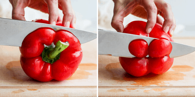 side by side pictures of knife cutting the top and bottom off a red bell pepper